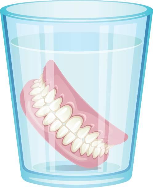 Denture in glass vector art illustration