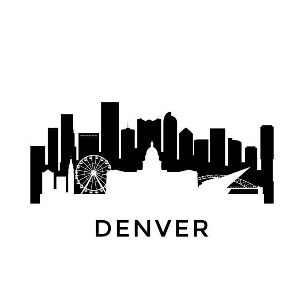 Denver city skyline. Negative space city silhouette. Vector illustration. Denver city skyline. Negative space city silhouette. Vector illustration. denver stock illustrations