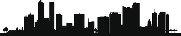 Denver city skyline silhouette background Denver city skyline silhouette background. Vector illustration denver stock illustrations