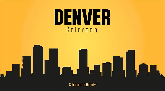 Denver Colorado city silhouette. Denver Colorado city silhouette and yellow background.