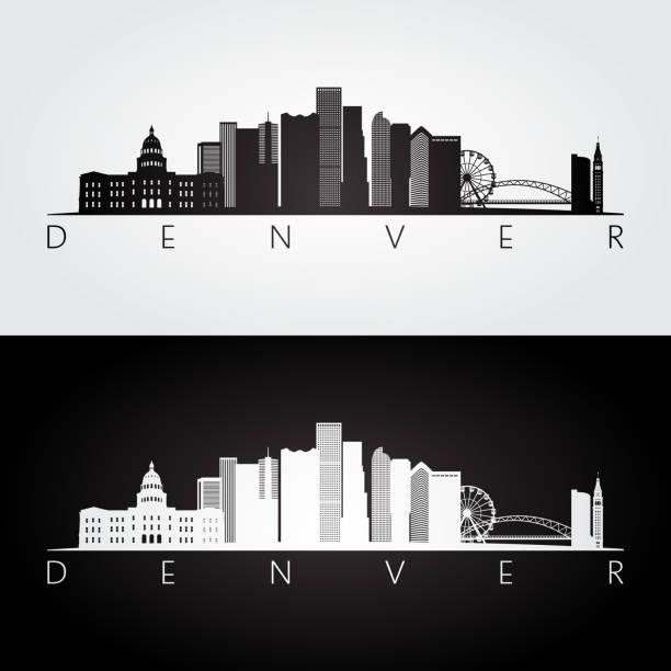 Denver skyline and landmarks silhouette, black and white design. Denver skyline and landmarks silhouette, black and white design. denver stock illustrations