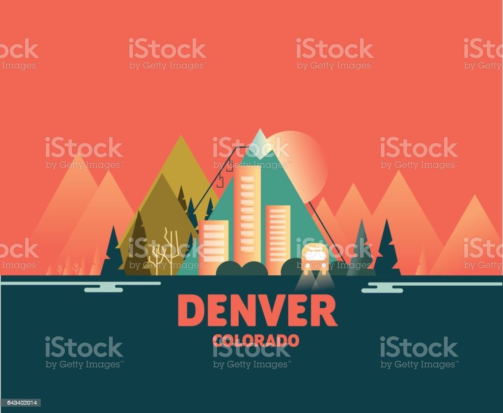 Denver Skyline - Iconic Illustrations of Cities vector art illustration