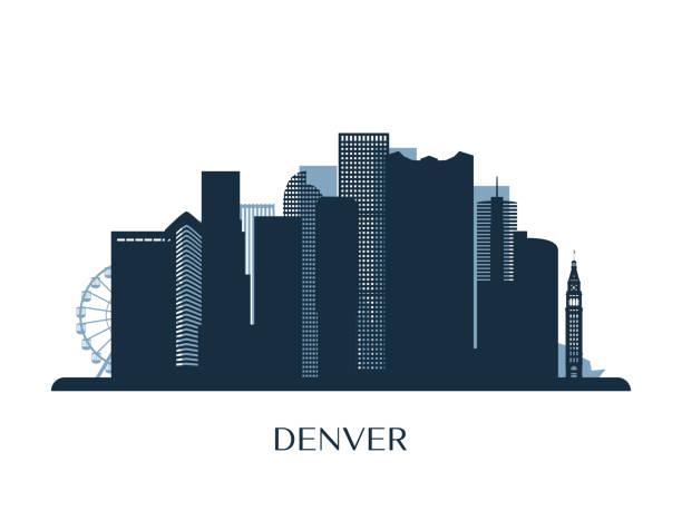 Denver skyline, monochrome silhouette. Vector illustration. Denver skyline, monochrome silhouette. Vector illustration. denver stock illustrations