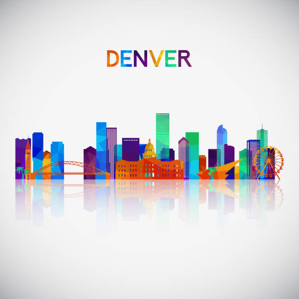 Denver skyline silhouette in colorful geometric style. Symbol for your design. Vector illustration. Denver skyline silhouette in colorful geometric style. Symbol for your design. Vector illustration. denver stock illustrations