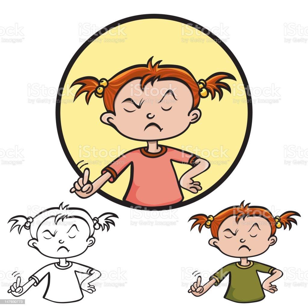 Denying little girl vector art illustration
