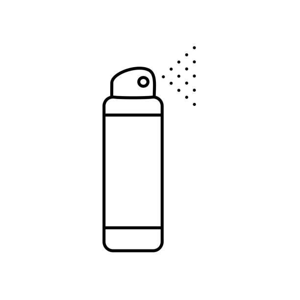 Deodorant Vector flat illustration icon of deodorant spray (antiperspirant). Black line silhouette on a white background aerosol can stock illustrations