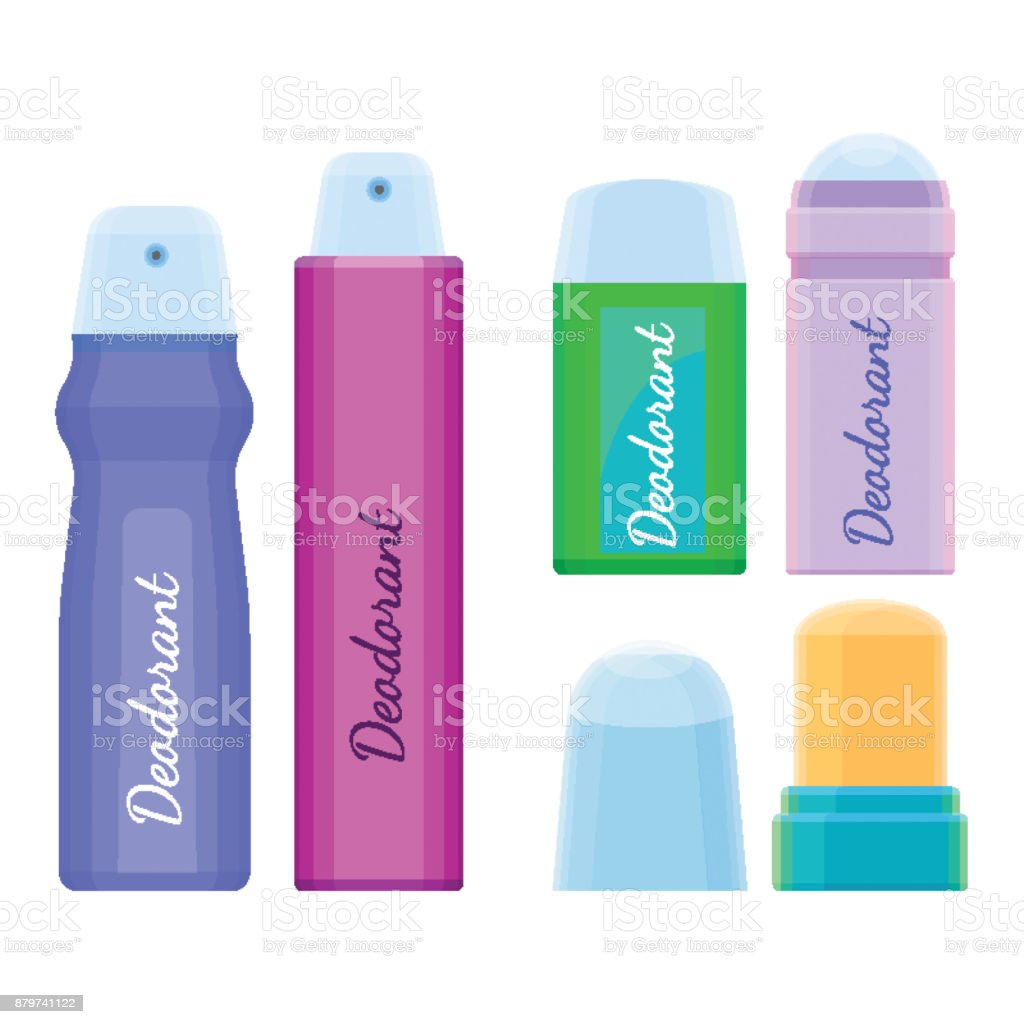 Deodorants collection of icons with labels on vector illustration vector art illustration