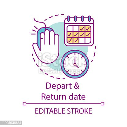 istock Depart and return date concept icon. Flights schedules and timetables idea thin line illustration. Travel by plane. Air transport services. Vector isolated outline drawing. Editable stroke 1205936631