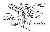Hand-drawn vector drawing of a Departing Airplane. Black-and-White sketch on a transparent background (.eps-file). Included files are EPS (v10) and Hi-Res JPG.