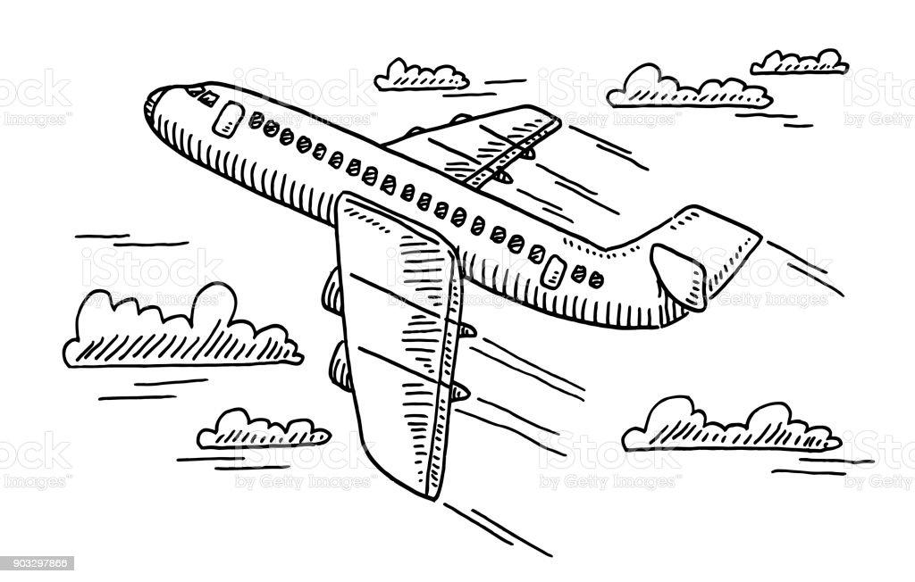 Departing Airplane Drawing vector art illustration