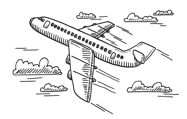 Departing Airplane Drawing Hand-drawn vector drawing of a Departing Airplane. Black-and-White sketch on a transparent background (.eps-file). Included files are EPS (v10) and Hi-Res JPG. transportation stock illustrations