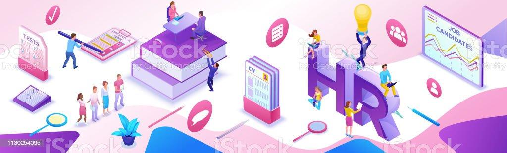 e8a118cc0829 Plantilla de banner horizontal isométrica de Departamento recursos humanos,  Agencia de contratación, 3d empleador