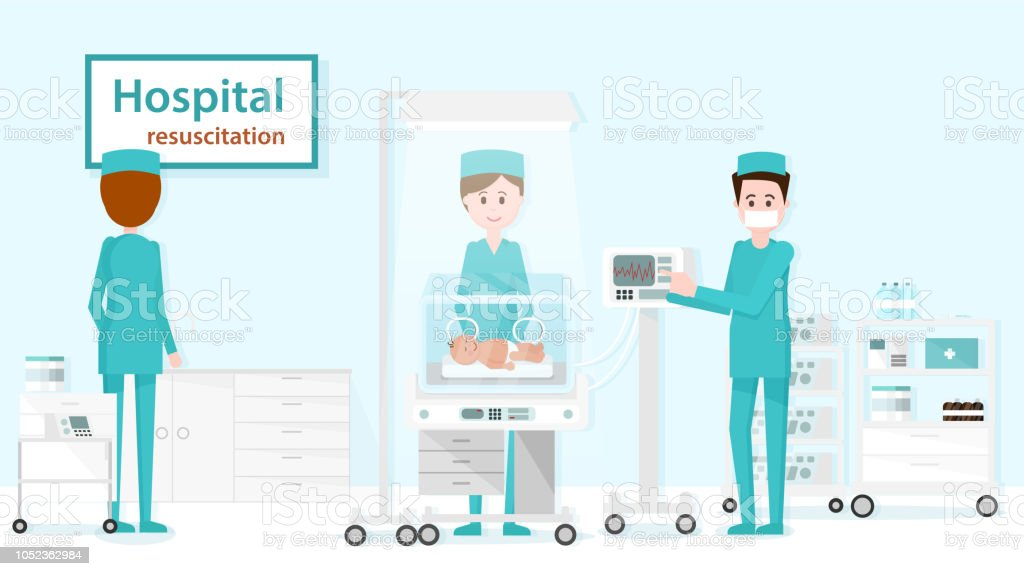Department of Pediatric Resuscitation. Vector. vector art illustration