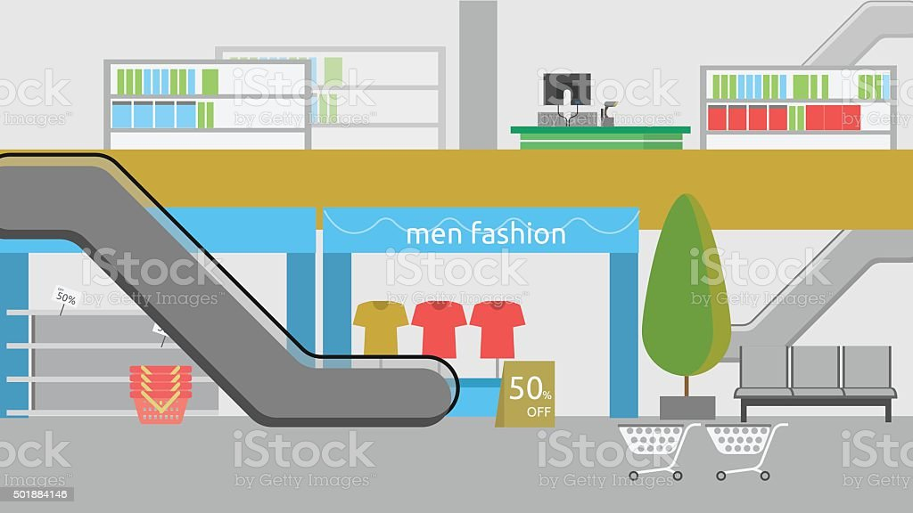 Department Store Background vector art illustration