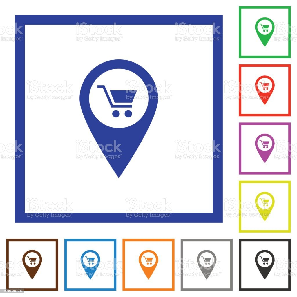 Department store GPS map location flat framed icons royalty-free department store gps map location flat framed icons stock vector art & more images of applying