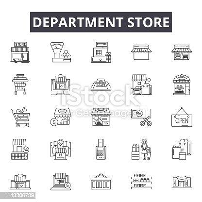 Department store line icons, signs set, vector. Department store outline concept illustration: store,shop,department,business,city,retail