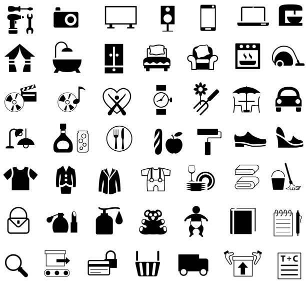 stockillustraties, clipart, cartoons en iconen met warenhuis winkelen categorieën iconen - warenhuis