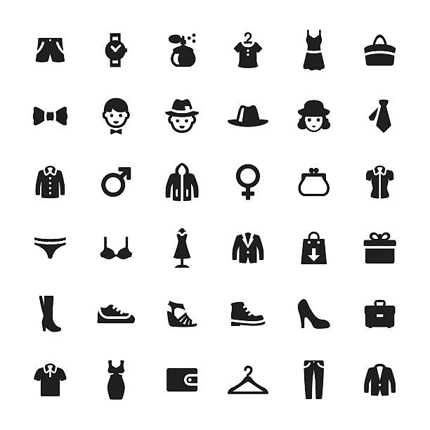 department store vector symbols and icons - shoes fashion stock illustrations, clip art, cartoons, & icons