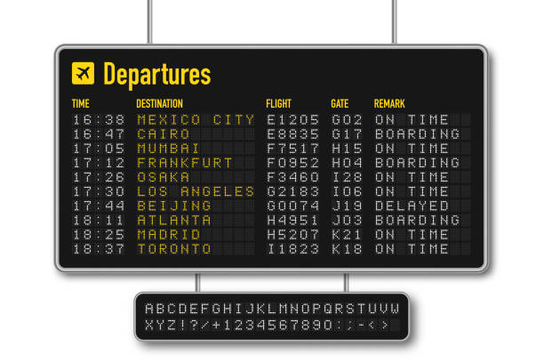 Departure and arrival board, airline scoreboard with digital led letters. Flight information display system in airport. Airport style alphabet with numbers vector art illustration