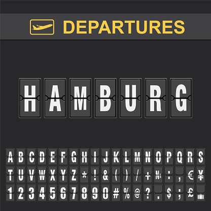 Departure and Arrival sign at Hamburg Airport Stock