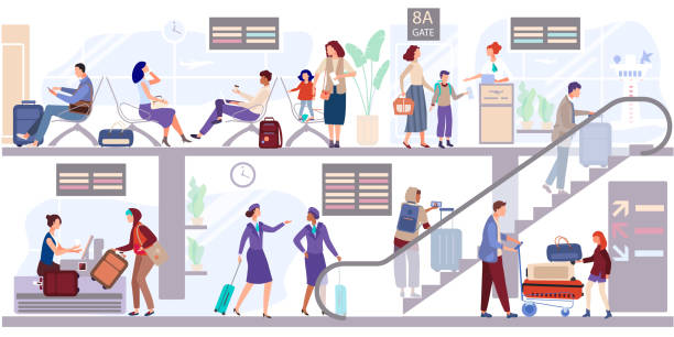 Departure people lounge at the airport terminal vector illustration. Passengers check in the baggage and wait to depart near gate. Departure people lounge at the airport terminal vector illustration. Passengers check in the baggage and wait to depart near gate. Stewardess goes up the escalator to the aircraft. People seat, await flight. depart stock illustrations