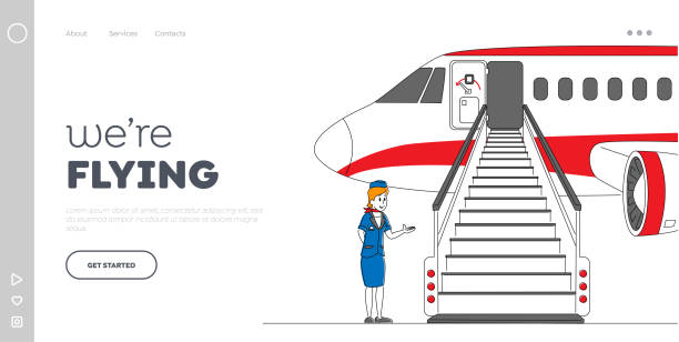 stockillustraties, clipart, cartoons en iconen met departure to destination place landing page template. airline staff stewardess karakter, stewardess, air hostess girl uitnodigende passagiers op vliegtuigboarding. lineaire vectorillustratie - stewardess