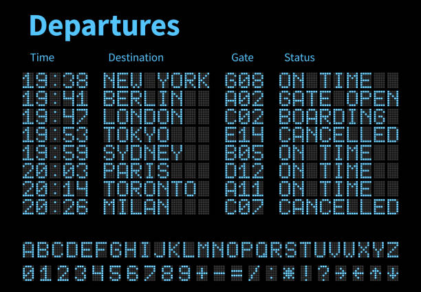 ilustrações de stock, clip art, desenhos animados e ícones de departures and arrivals airport digital board vector template. airline scoreboard with led letters and numbers - led painel