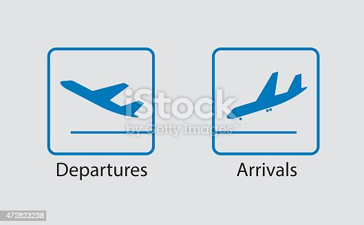 istock Departures and arrivals symbol 472823238