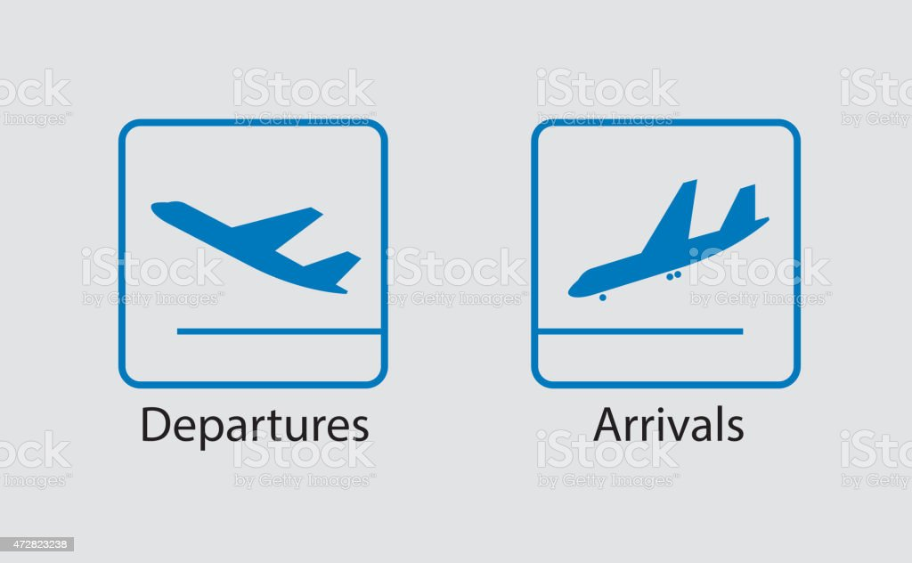 Departures and arrivals symbol vector art illustration