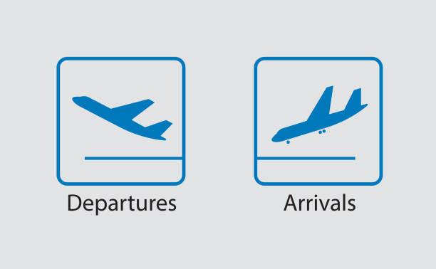 Abfahrt und Ankunft-symbol – Vektorgrafik
