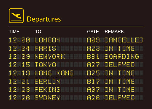 Departures information board High resolution jpeg included. airport stock illustrations