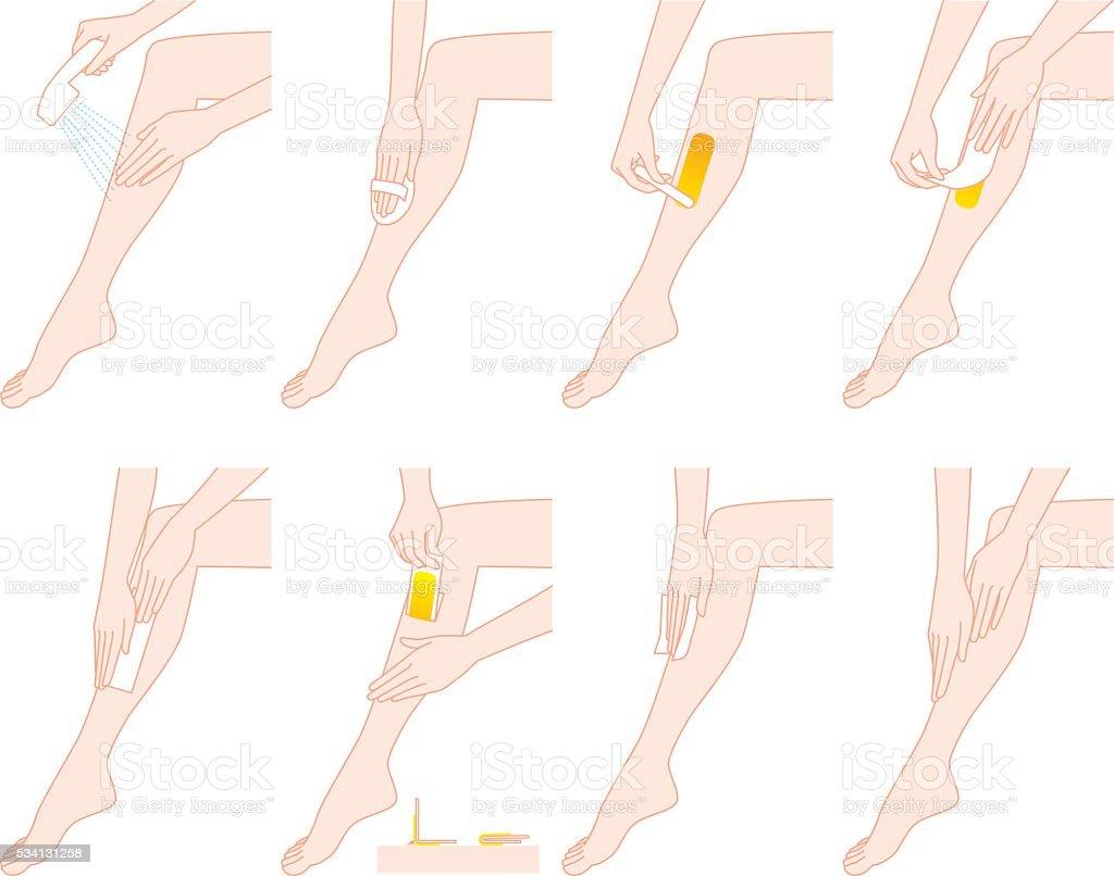 Depilatory wax legs vector art illustration