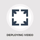 Deploying video vector flat icon