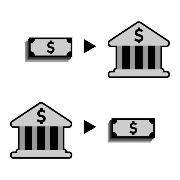 einzahlung und abheben geld von bank-symbol vektor, einfaches und flaches design, minimalistischen stil, schwarz und weiß farbe. - kanzlerin stock-grafiken, -clipart, -cartoons und -symbole