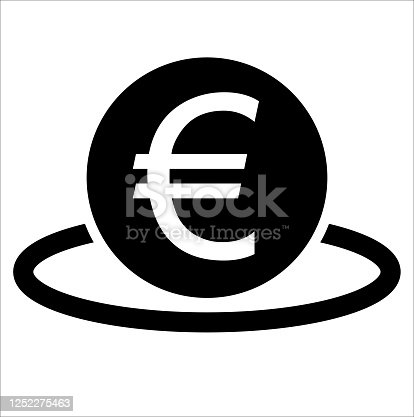 Deposit from BiColor Euro Banking Icon Set. Vector style: flat, black symbol, rounded angles, white background