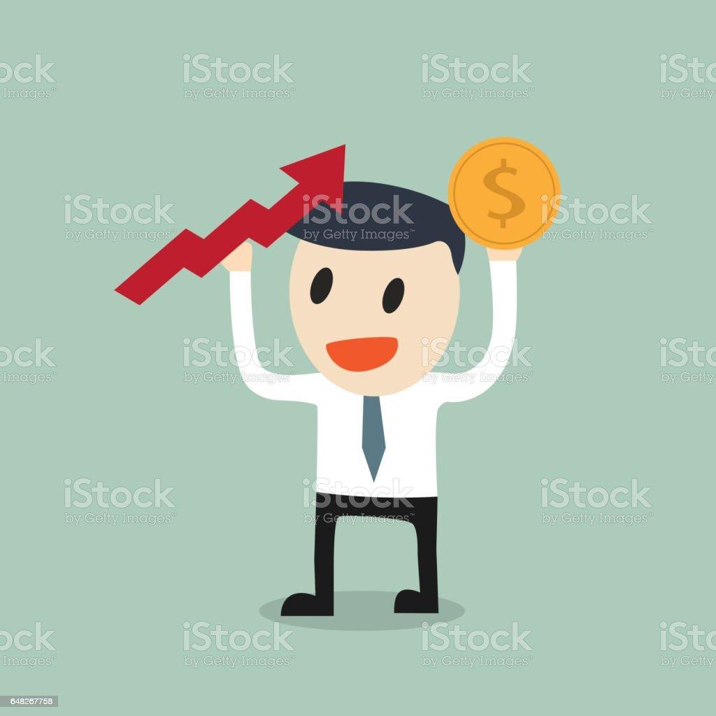 Deposit growth chart vector art illustration