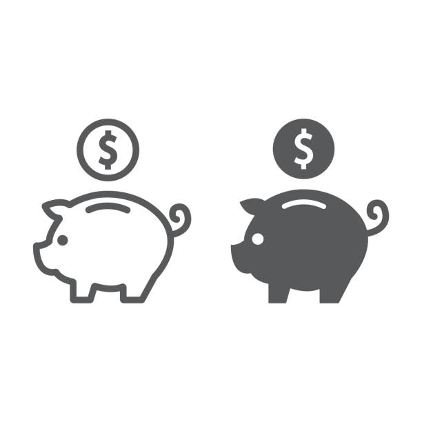 Deposit line and glyph icon, finance and banking, piggy bank sign, vector graphics, a linear pattern on a white background, eps 10. Deposit line and glyph icon, finance and banking, piggy bank sign, vector graphics, a linear pattern on a white background, eps 10. piggy bank stock illustrations