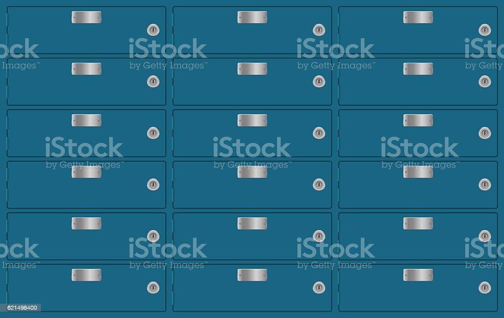 Deposit lockers. Bank safe boxes deposit lockers bank safe boxes – cliparts vectoriels et plus d'images de bleu libre de droits