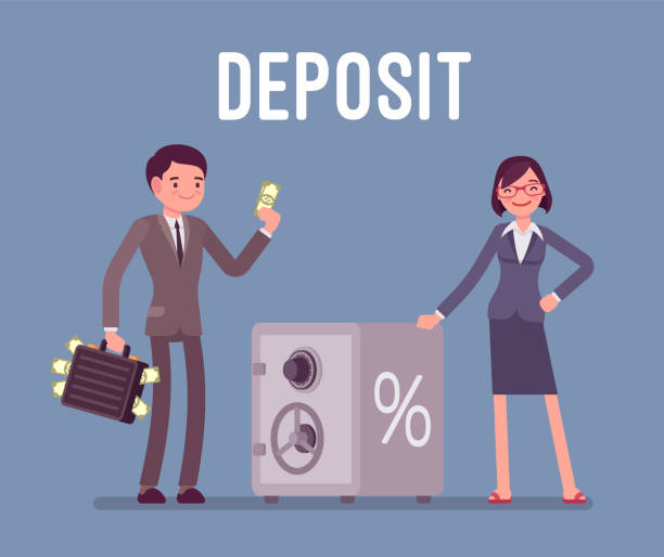 Deposit man and woman money investors Deposit man and woman money investors standing near safe box. Individuals transferring into a banks savings or checking accounts to get profit. Vector flat style cartoon business concept illustration safety deposit box stock illustrations