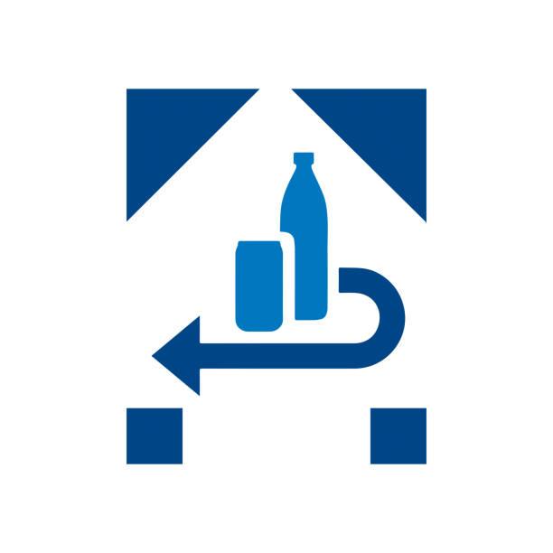 einlege-, rücksende- und recycling-verpackungssystem-symbol. - pfand stock-grafiken, -clipart, -cartoons und -symbole