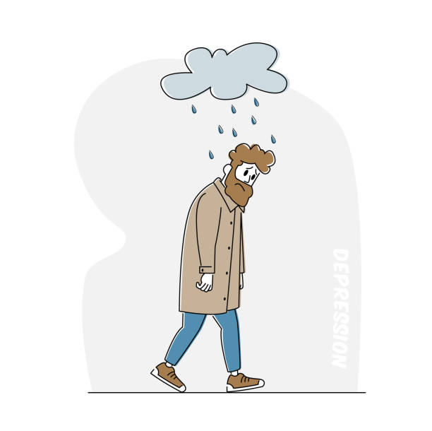 Depressed and Anxious Man with Alcohol Bottle Suffer of Depression and Anxiety Feel Frustrated Walking under Rainy Cloud Depressed and Anxious Man with Alcohol Bottle Suffer of Depression and Anxiety Problem Feel Frustrated Walking under Rainy Cloud above Head. Sad or Desperate Male Character. Linear Vector Illustration human head stock illustrations