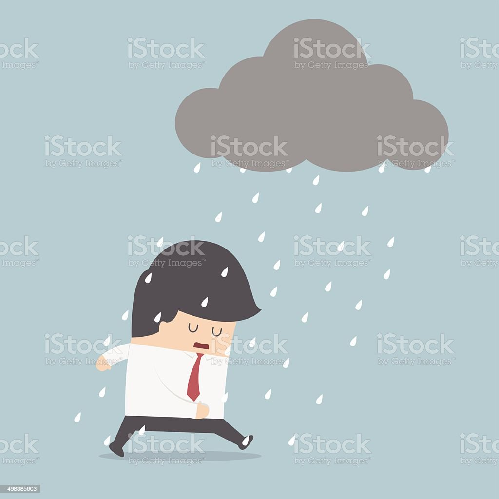 Depressed businessman walking in the rain vector art illustration