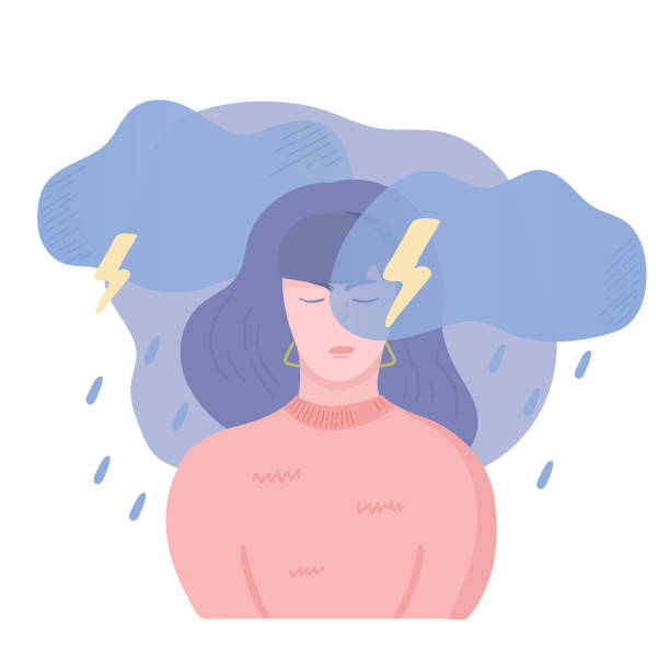 Depressed girl Sad unhappy girl, angry and stressed. Anger, stress and bad mood concept. Dark clouds, rain, lightning and thunderstorm above the woman head. Vector illustration, cartoon flat style. displeased stock illustrations