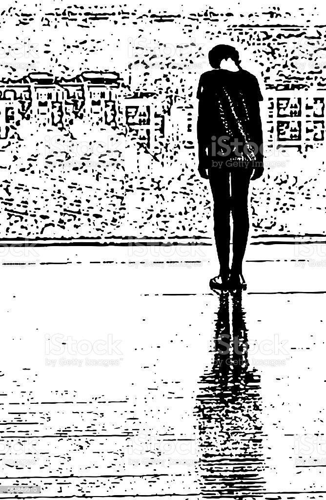 Depressed Girl vector art illustration