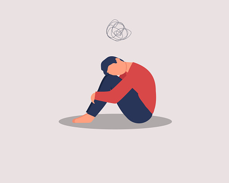 Depressed male character sitting on floor and hugging knees, above scribble. Mental health concept. Depression, bipolar disorder, dementia, obsessive compulsive, post traumatic stress disorder.
