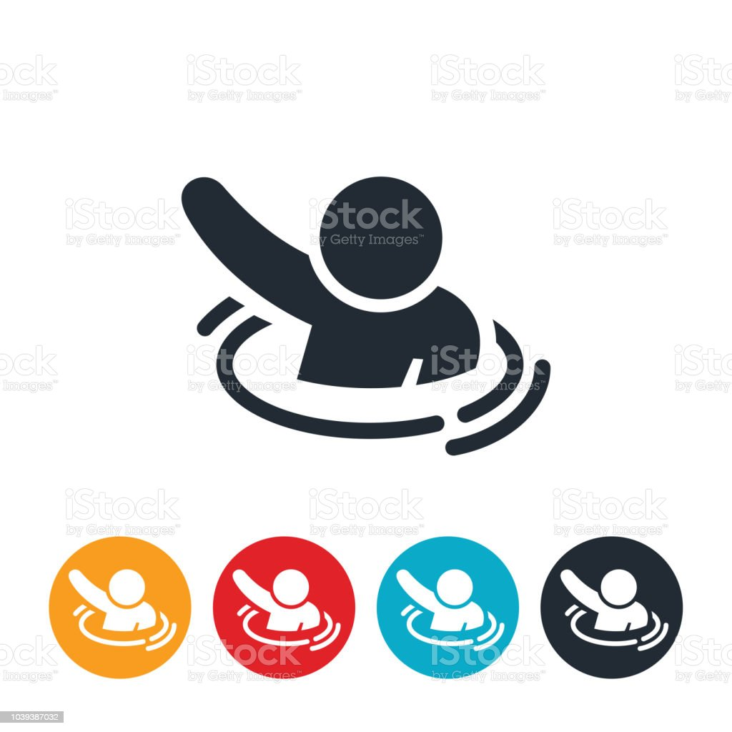 Depressed Person Drowning Icon vector art illustration