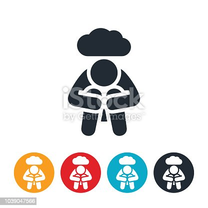 An icon of a depressed person with their head in their knees. Above the person is a dark cloud symbolizing the dark depression feelings the person struggles with.