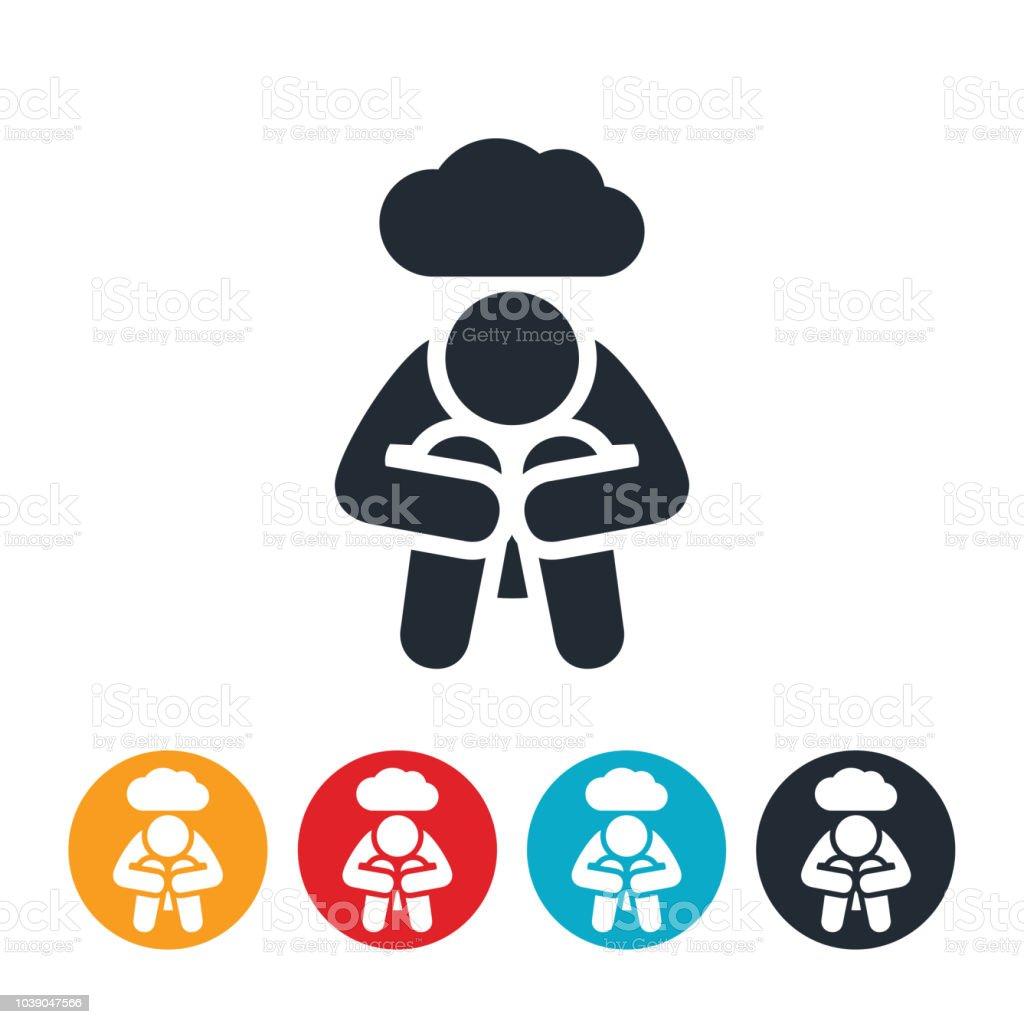 Depressed Person Icon vector art illustration