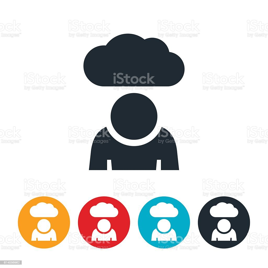 Depressed Person Icon vector art illustration