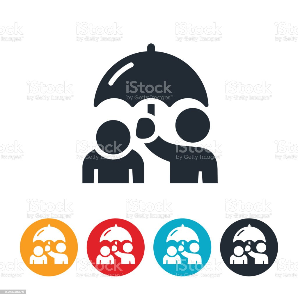 Depressed Person With Umbrella Icon vector art illustration